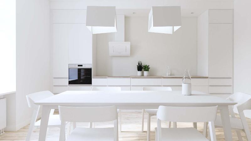 Architekturvisualisierung-Appartement-weisse-Kueche-minimalistisch